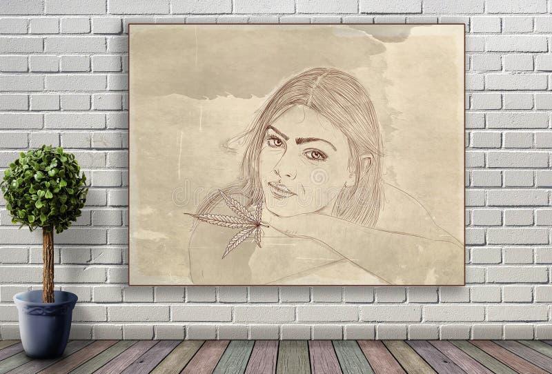 Ligne portrait de femme accrochant sur le mur de briques image stock