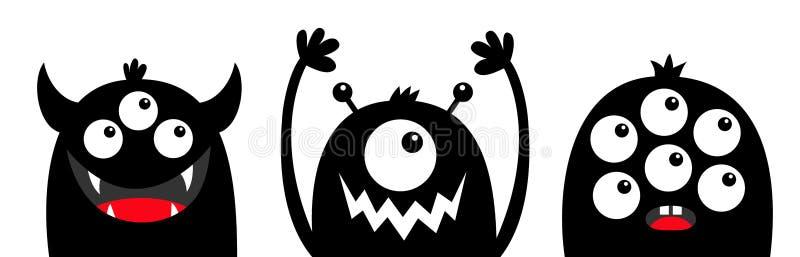 Ligne principale d'ensemble de silhouette de noir de visage de monstre Yeux, croc de dents, klaxons, mains  Caract?re dr?le de ka illustration libre de droits