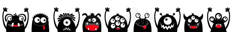 Ligne principale d'ensemble d'icône de visage de silhouette de noir de monstre Veille de la toussaint heureuse Yeux, langue, croc illustration stock