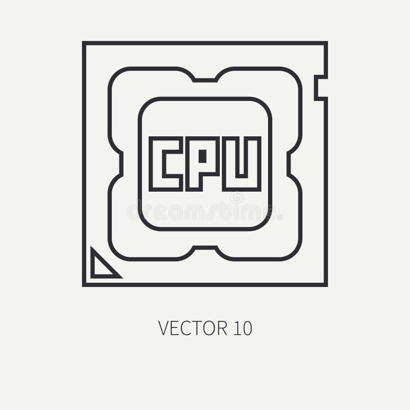 Ligne processeur plat d'icône de pièce d'ordinateur de vecteur Type de dessin animé Dispositif de bureau de jeu de Digital et de  illustration stock
