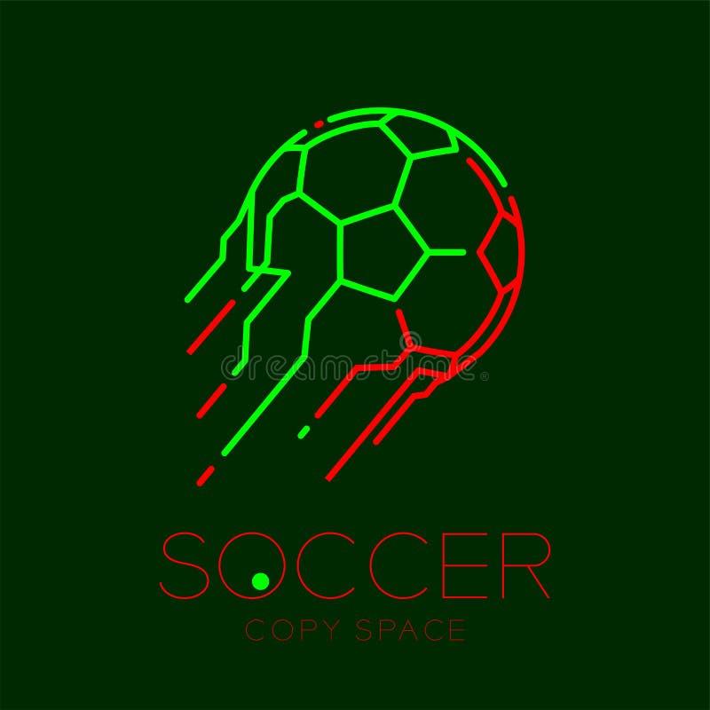 Ligne réglée illustration de tiret de course d'ensemble d'icône de logo de tir de ballon de football de conception illustration stock