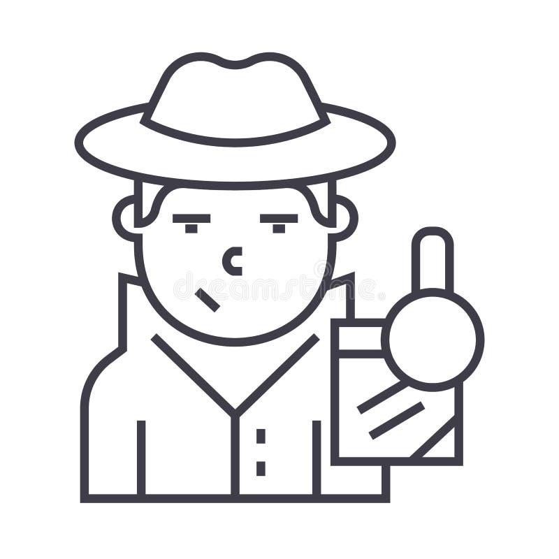 Ligne révélatrice icône, signe, illustration de vecteur sur le fond, courses editable illustration libre de droits