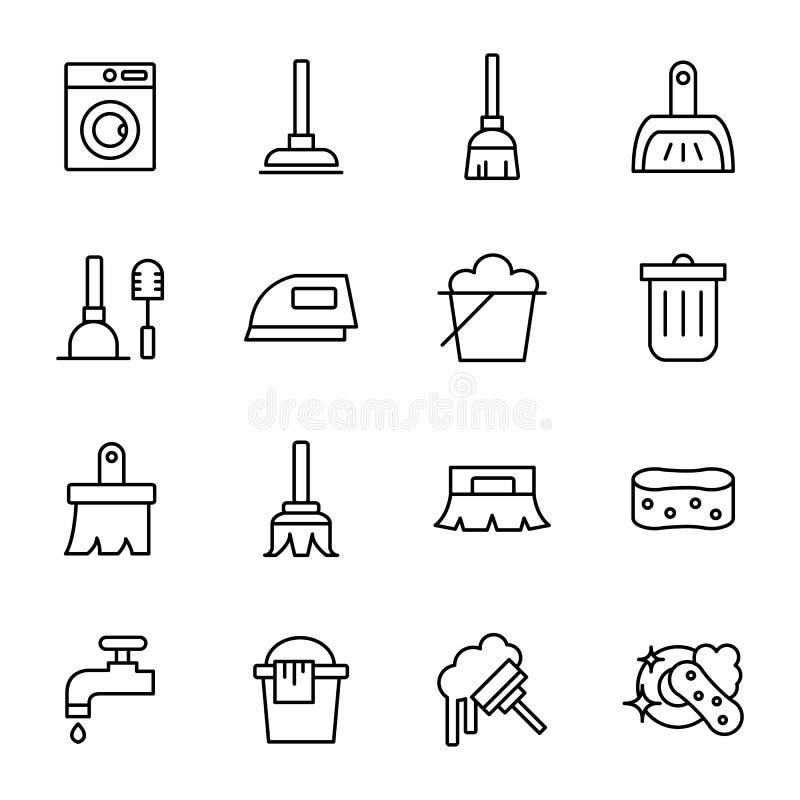Ligne relative de nettoyage icônes de vecteur illustration de vecteur