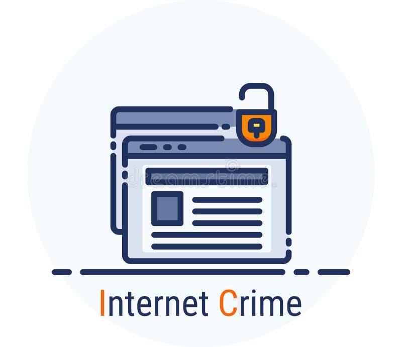 Ligne remplie style d'icônes Crime d'Internet d'attaque de crime de Cyber de pirate informatique pour la conception web, ui, ux,  illustration libre de droits