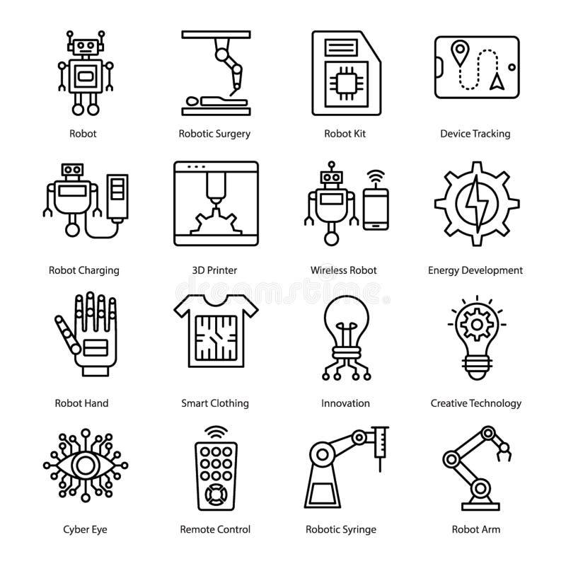 Ligne robotique icônes de chirurgie illustration libre de droits