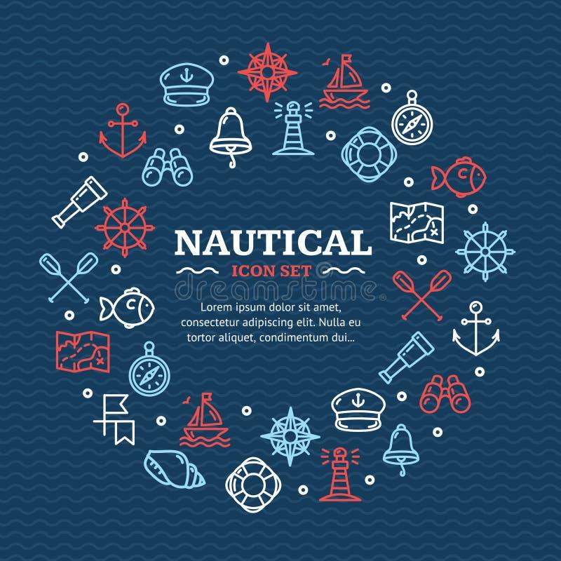 Ligne ronde nautique concept de calibre de conception de voyage en mer d'icône Vecteur illustration de vecteur