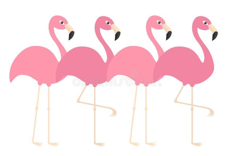 Ligne rose d'ensemble de flamant Oiseau tropical exotique Collection d'animal de zoo Personnage de dessin animé mignon Élément de illustration libre de droits