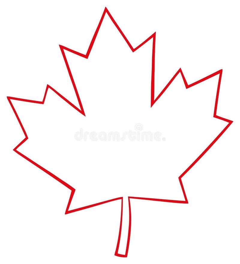 Ligne rouge canadienne d crite dessin de feuille d 39 rable de bande dessin e illustration stock - Feuille erable dessin ...
