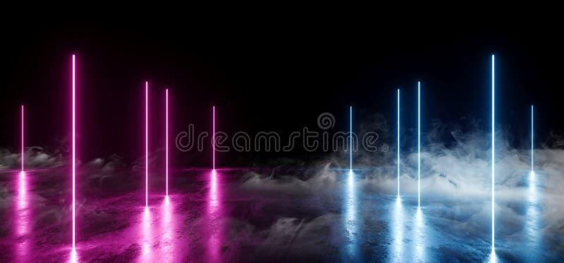 Ligne rougeoyante au néon futuriste de laser de fumée de brouillard de fumée la rétro a formé le grunge vibrant bleu pourpre en m illustration de vecteur