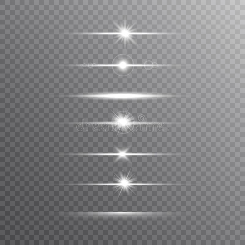 Ligne rougeoyante ensemble sur le fond transparent Brillez les poutres Ensemble réaliste de fusée de lentille Éclair avec les ray illustration stock