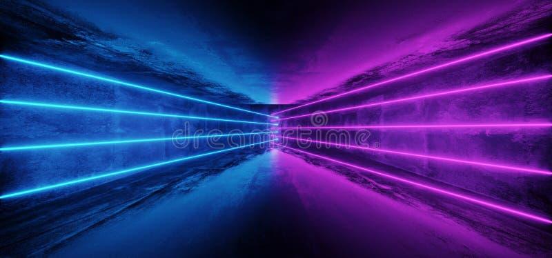 Ligne rougeoyante lumières de tube au néon de pourpre bleu futuriste de la science fiction dans D illustration libre de droits