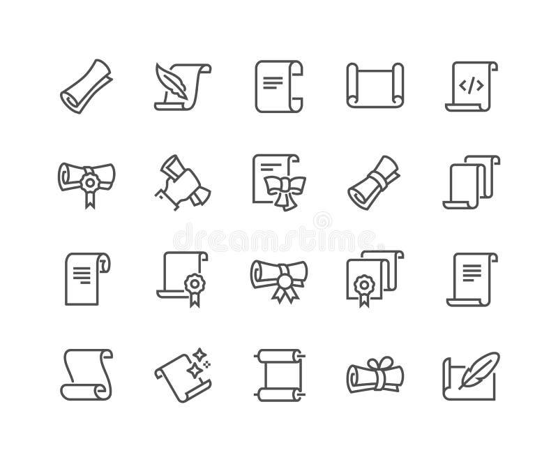 Ligne rouleaux et icônes de papiers illustration stock