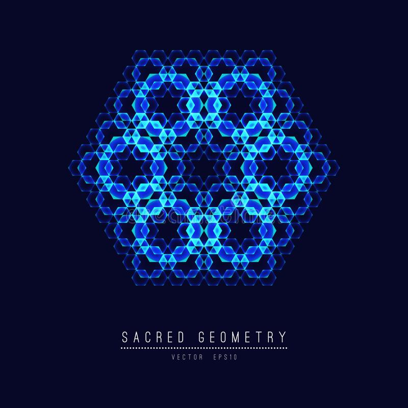 Ligne sacrée fleur de la géométrie d'élément de vecteur de la vie Illustration de vecteur illustration stock