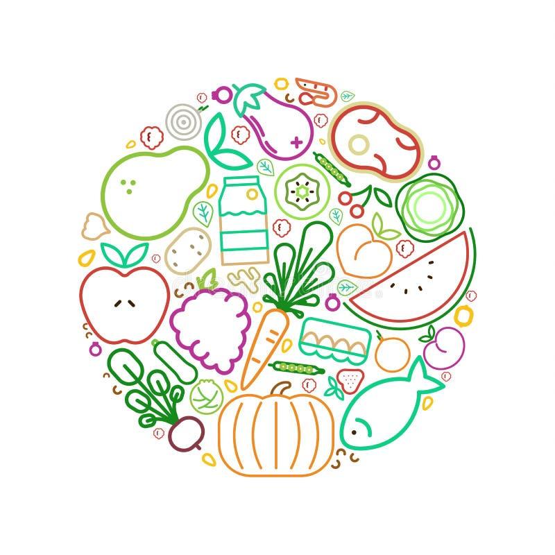 Ligne saine nourriture de concept de cercle de consommation d'icônes illustration libre de droits