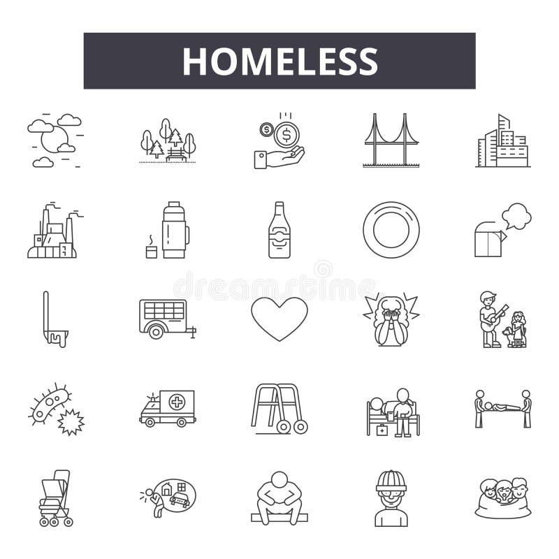 Ligne sans abri icônes, signes, ensemble de vecteur, concept d'illustration d'ensemble illustration libre de droits