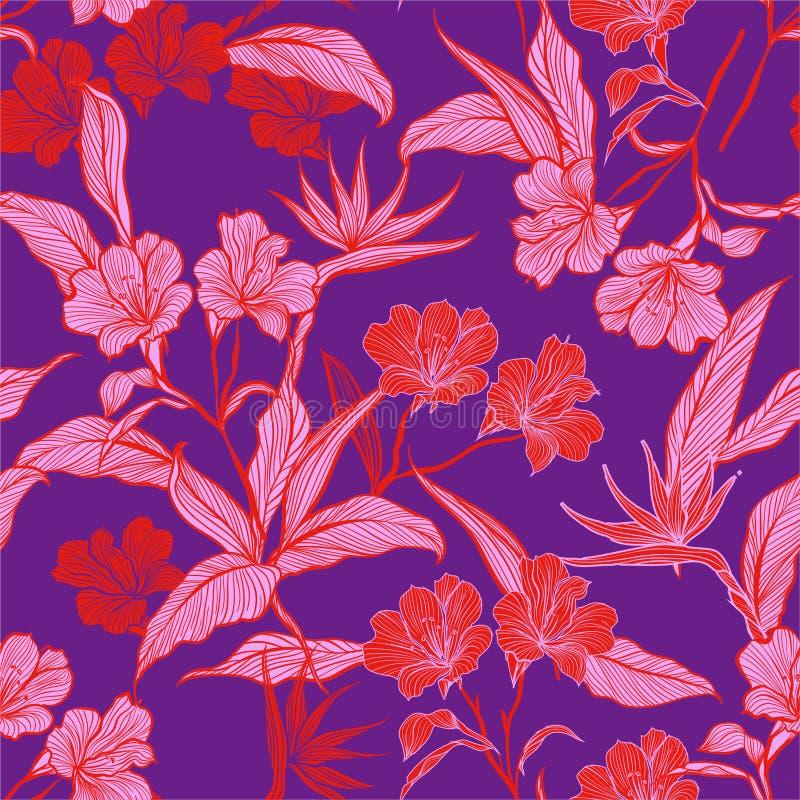 Ligne sans couture de modèle de cru fleurs et plantes botaniques dans l'illustration colorée de vecteur de jardin Conception pour illustration libre de droits