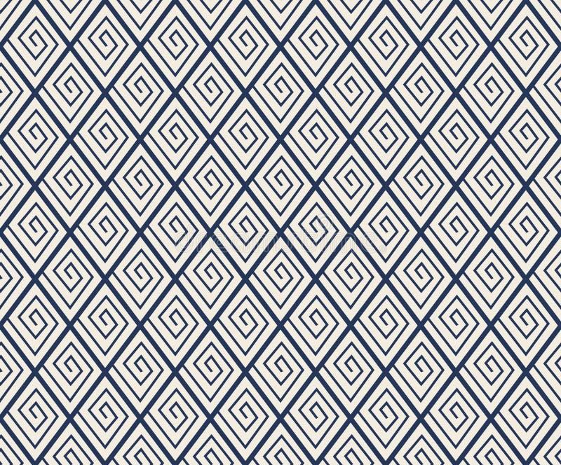 Ligne sans couture fond de contrôle de diamant de vintage de modèle de spirale illustration stock