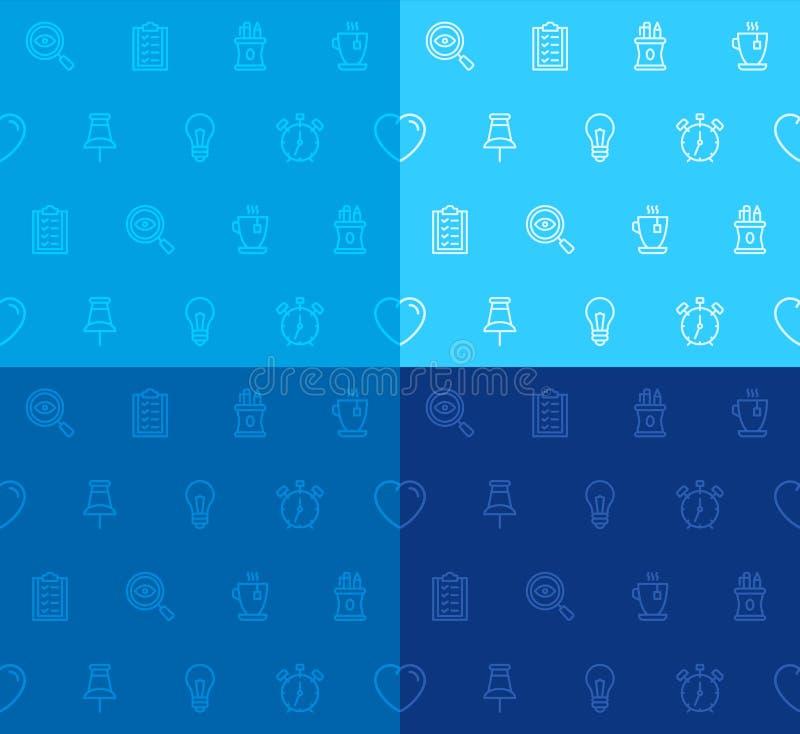 Ligne sans couture icônes de modèle de bureau illustration libre de droits