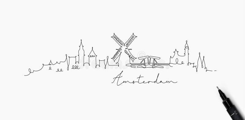 Ligne silhouette Amsterdam de stylo illustration de vecteur