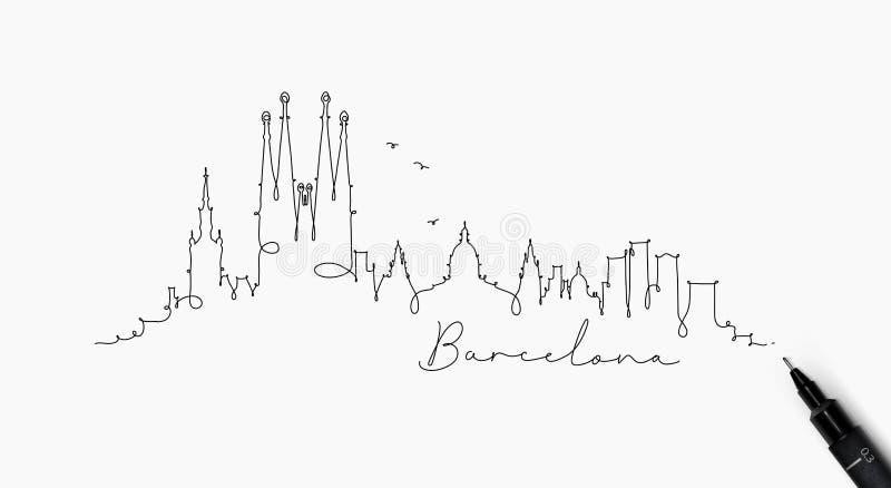 Ligne silhouette Barcelone de stylo illustration libre de droits