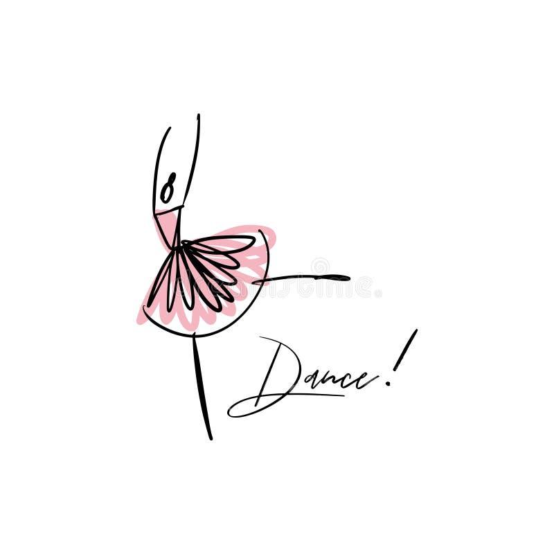 Ligne silhouette de vecteur de ballerine élégante Icône de danseur illustration libre de droits