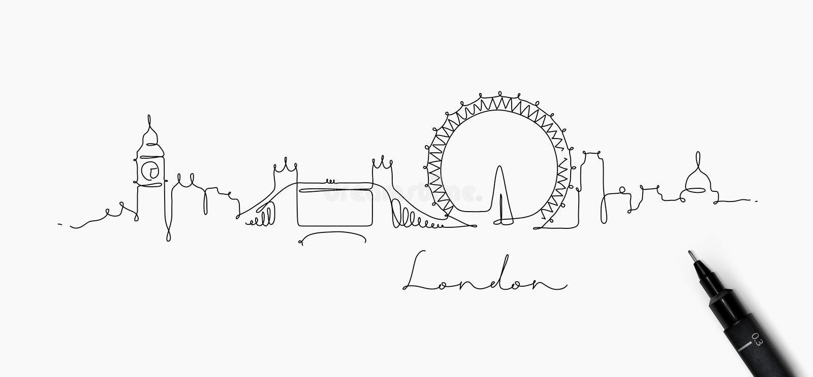 Ligne silhouette Londres de stylo illustration de vecteur