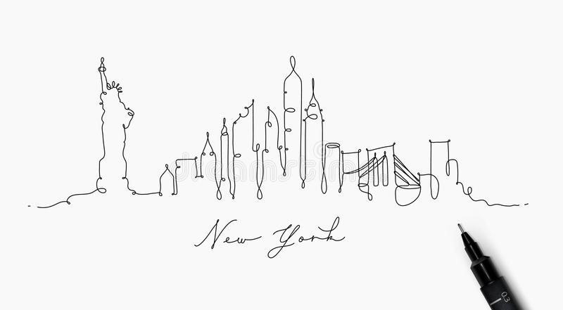 Ligne silhouette New York de stylo illustration stock