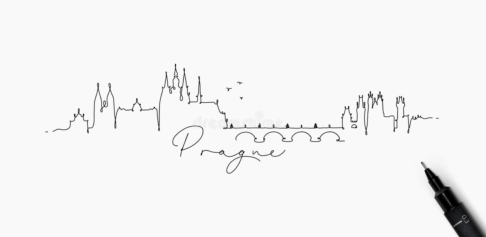 Ligne silhouette Prague de stylo illustration libre de droits