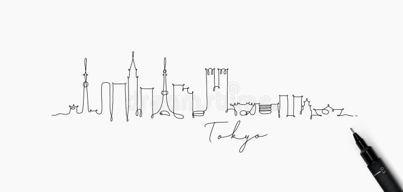 Ligne silhouette Tokyo de stylo illustration libre de droits