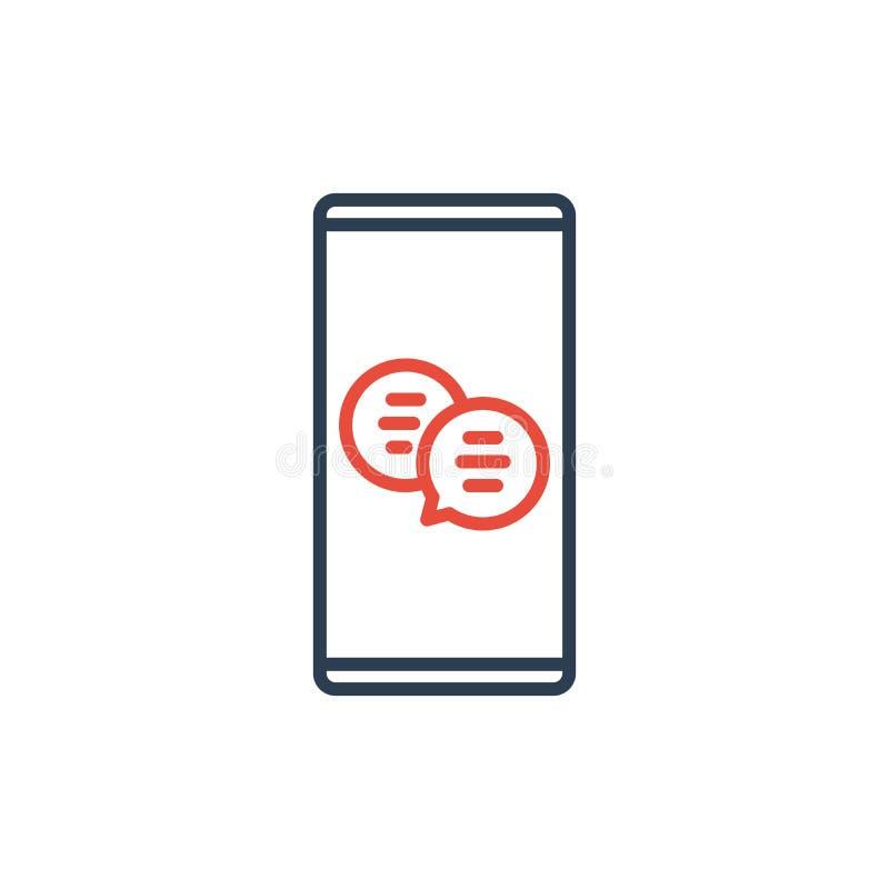 Ligne simple d'icône de vecteur de téléphone portable - causerie de bulle de message et dialogue mobile illustration de vecteur