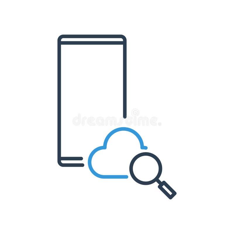 Ligne simple d'icône de vecteur de téléphone portable - nuage et recherche de agrandissement illustration libre de droits