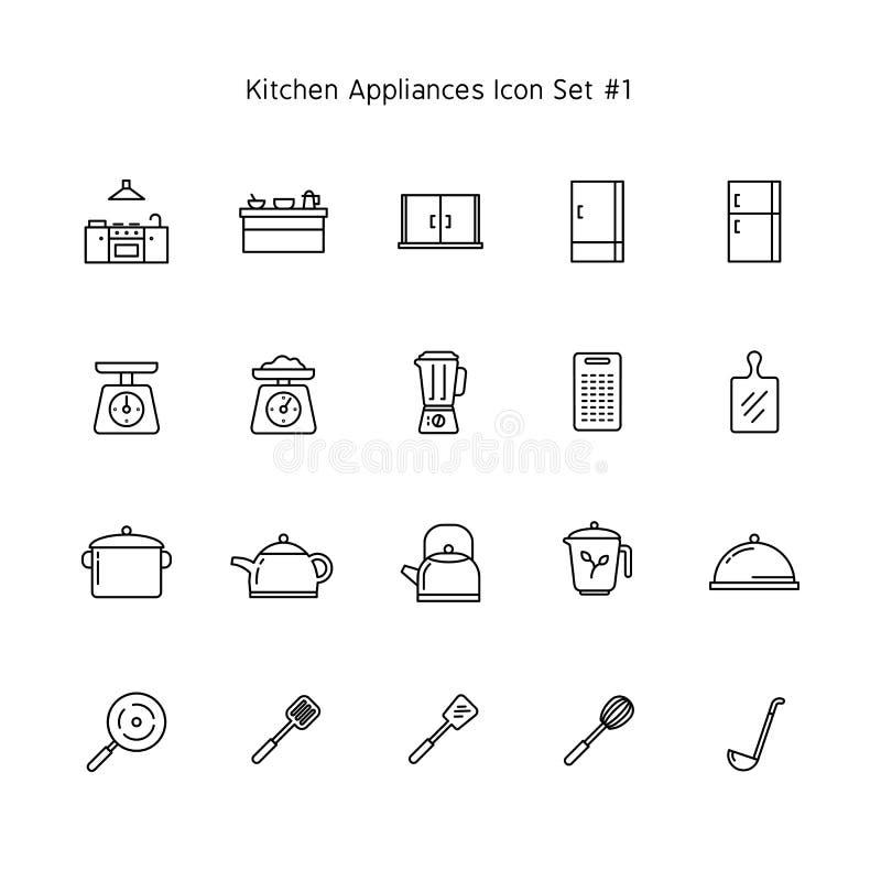 Ligne simple ensemble d'icône d'appareils de cuisine collection d'illustration de ménage illustration libre de droits