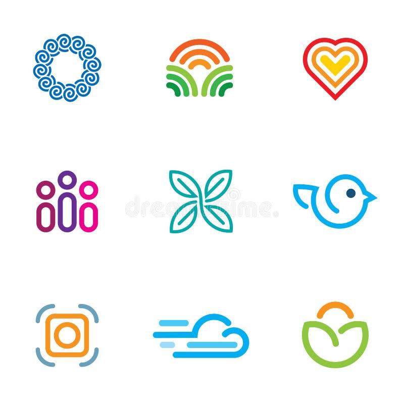 Ligne simple ensemble rapide d'icône de téléchargement de la communauté de logo de forum de blog illustration libre de droits