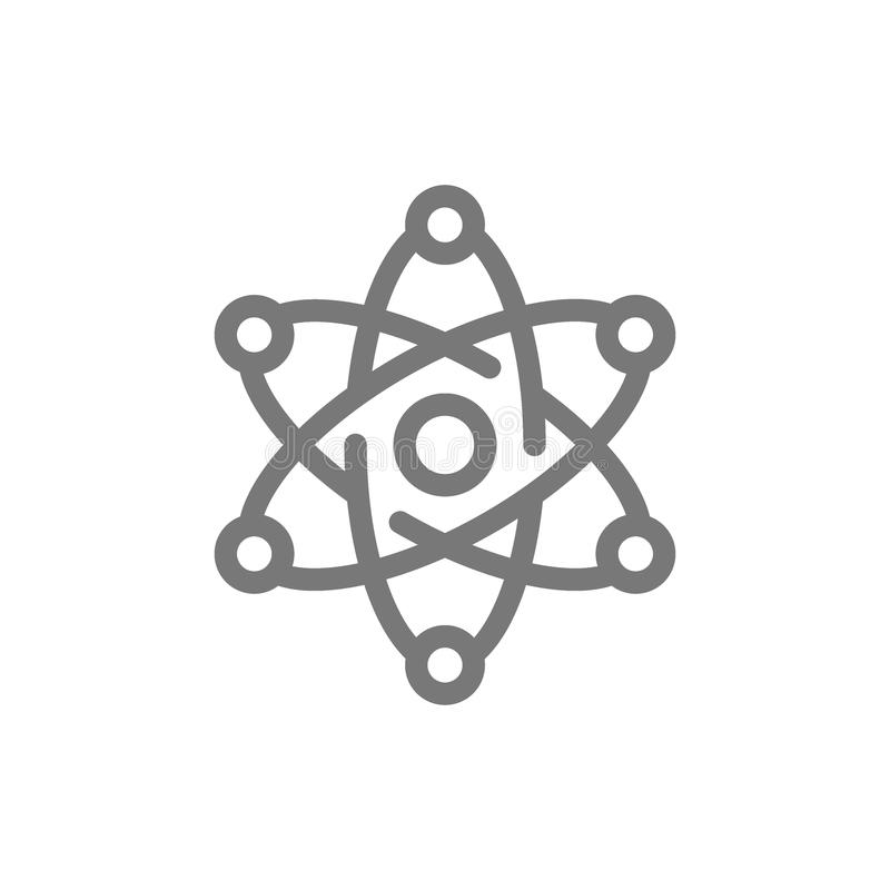 Ligne simple icône d'atome et de molécule Conception d'illustration de vecteur de symbole et de signe D'isolement sur le fond bla illustration de vecteur
