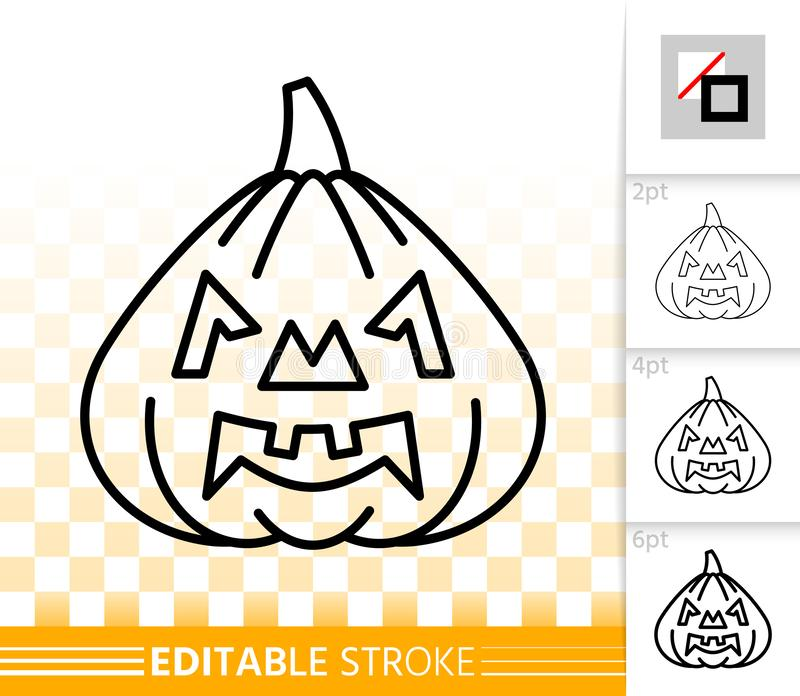 Ligne simple icône de lanterne de Jack O de potiron de Halloween illustration de vecteur