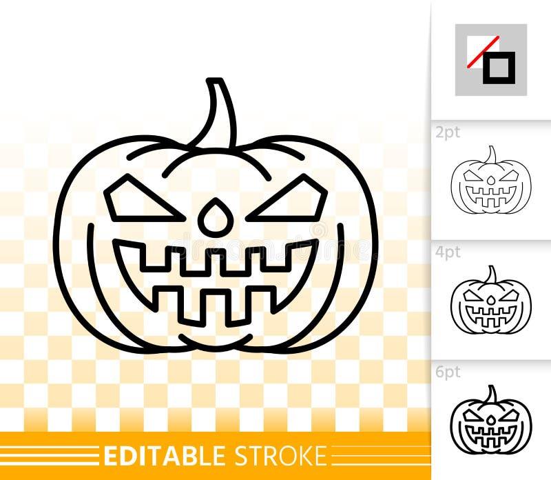 Ligne simple icône de lanterne de Jack O de potiron de Halloween illustration libre de droits