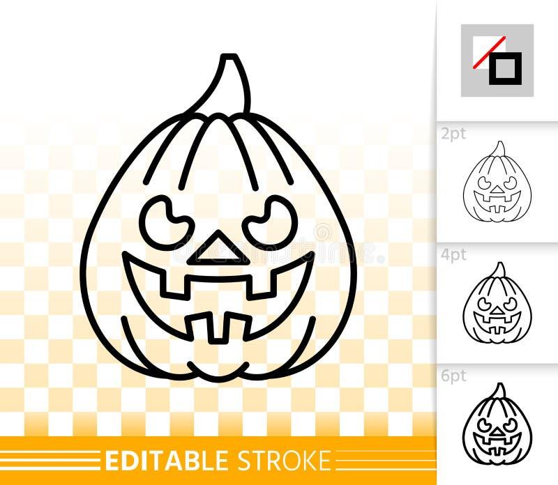 Ligne simple icône de lanterne de Jack O de potiron de Halloween illustration stock