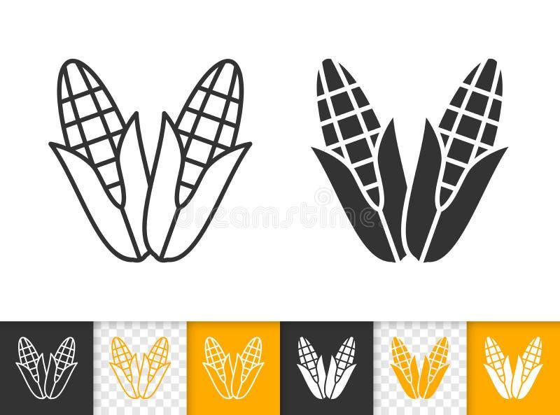 Ligne simple icône de noir de nourriture d'épi de maïs de vecteur de maïs illustration stock