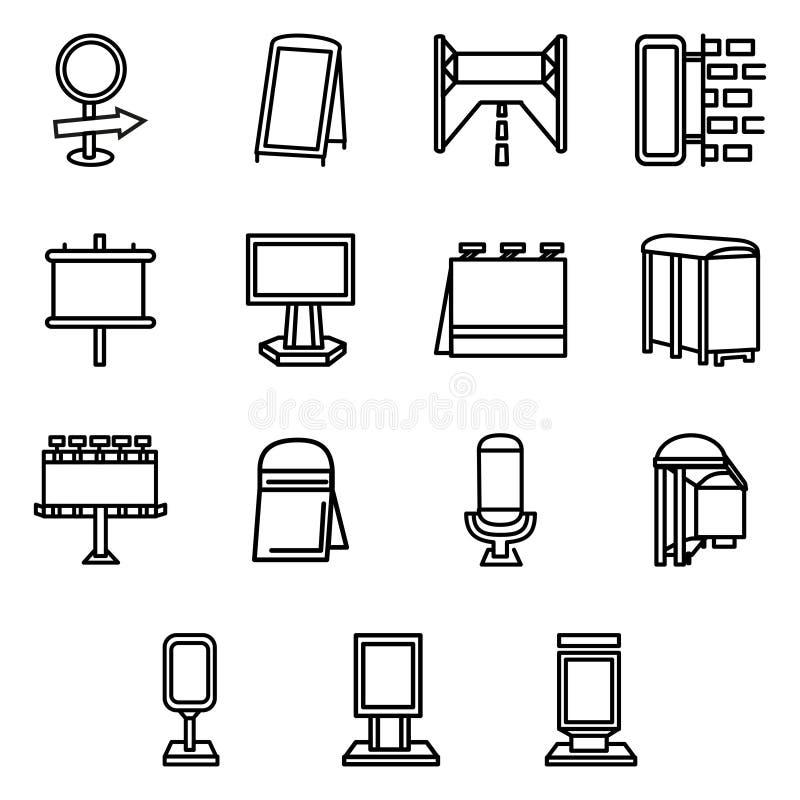 Ligne simple icônes d'éléments de la publicité illustration de vecteur