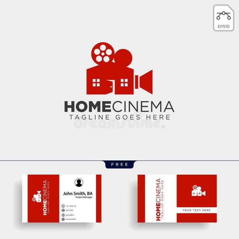 Ligne simple visuelle à la maison élément de couleur de noir de cinéma d'icône d'illustration de vecteur de calibre de logo photographie stock