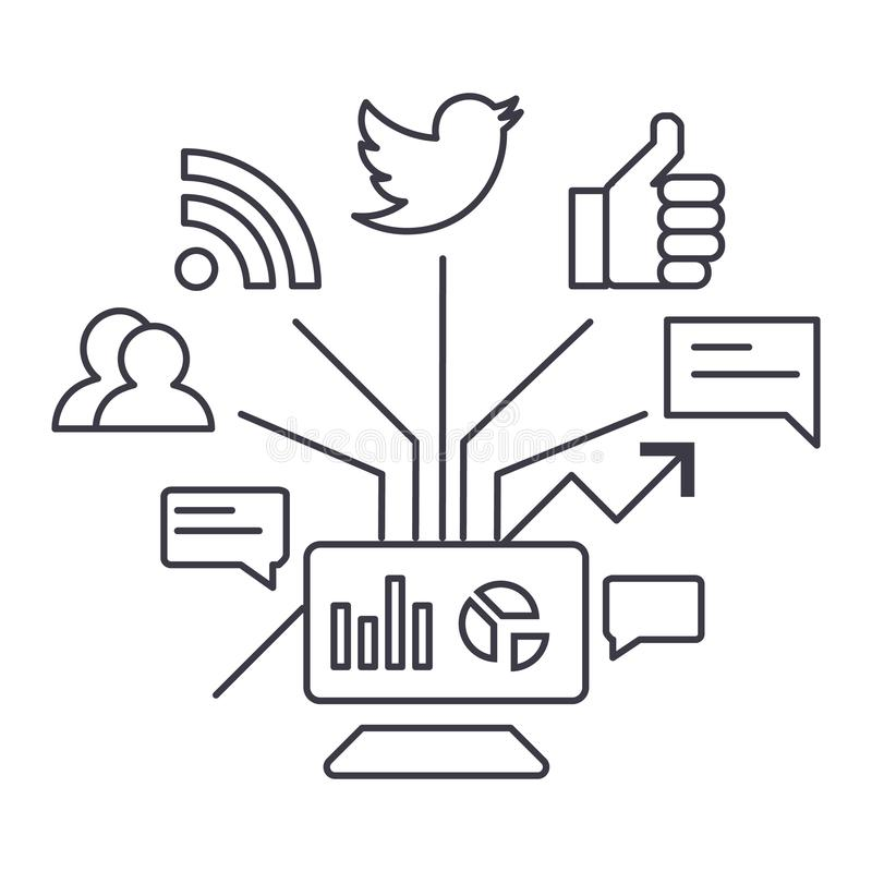 Ligne sociale icône, signe, illustration de vecteur de vente sur le fond, courses editable illustration stock