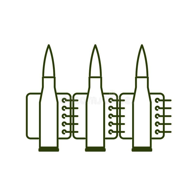 Ligne style d'agrafe de balles Icône de signe de munitions illustration de vecteur