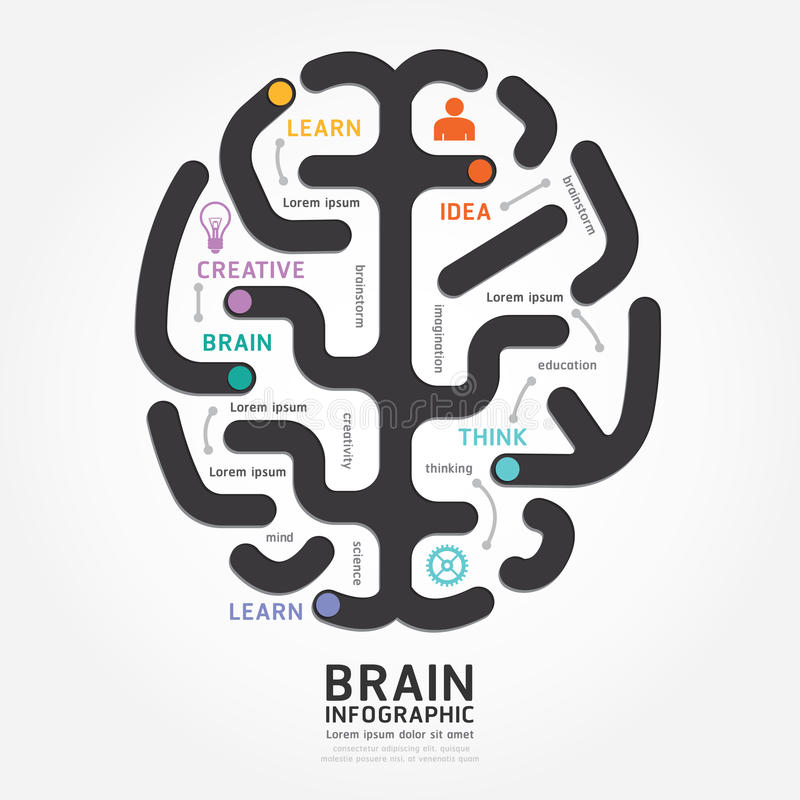 Ligne style de diagramme de conception de cerveau de vecteur d'Infographics illustration libre de droits
