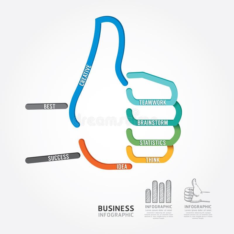 Ligne style de diagramme de conception de signe de main de vecteur d'Infographics bonne illustration stock