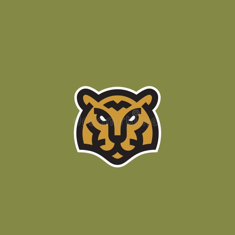 Ligne style minimaliste Tiger Face Abstract Vector Icon, symbole ou Logo Template T?te animale sauvage Sillhouette cr?ateur illustration libre de droits