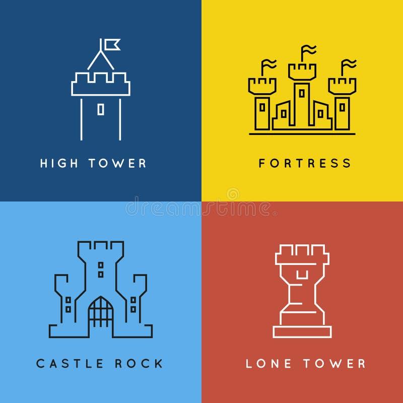 Ligne style ou vecteur décrit de château et de forteresse illustration libre de droits