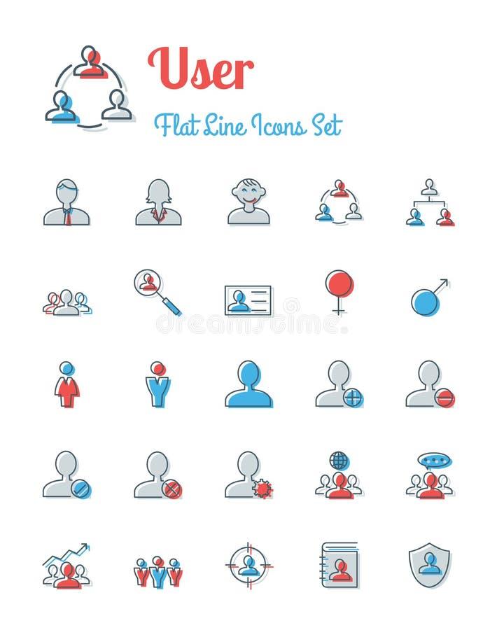 Download Ligne Style Plate Réglée Par Icônes D'utilisateur Illustration de Vecteur - Illustration du discussion, conférence: 77150715