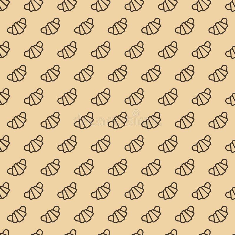 Ligne style sans couture de modèle de croissant sur le fond brun illustration stock