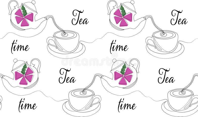 Ligne style sans couture du modèle un de temps de thé Illustration de vecteur illustration de vecteur
