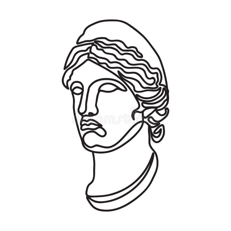 Ligne style simple continue de déesse grecque illustration de vecteur